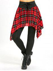 Lace Up Asymmetric Plaid Skirted Leggings -