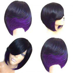 Short Side Fringe Straight Feathered Bob Synthetic Wig -