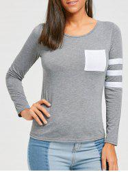 Color Block Striped Sleeve Pocketed T-shirt -