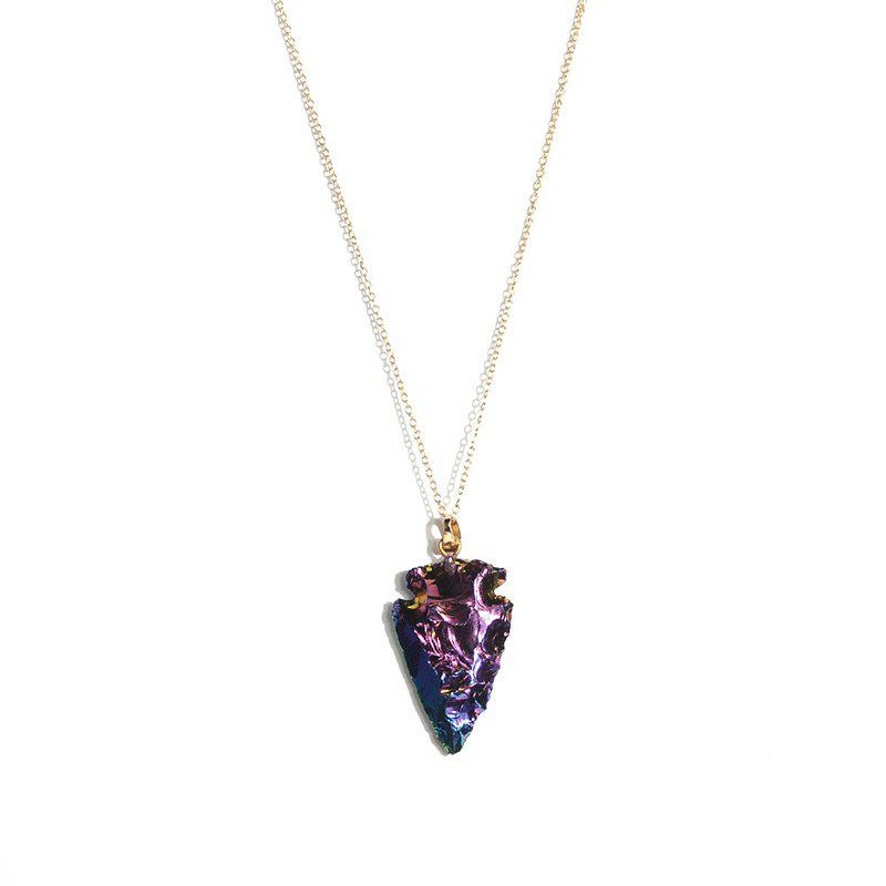 Arrow Stone Shape Pendant NecklaceJEWELRY<br><br>Color: GOLDEN; Item Type: Pendant Necklace; Gender: For Women; Metal Type: Alloy; Style: Trendy; Shape/Pattern: Arrow; Length: 60cm; Weight: 0.0110kg; Package Contents: 1 x Necklace;