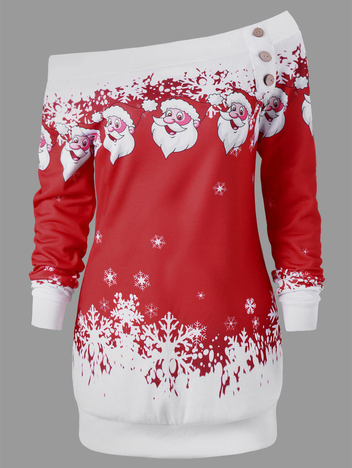 Pullover Santa Claus Snowflake Skew Neck Christmas SweatshirtWOMEN<br><br>Size: XL; Color: DEEP RED; Material: Polyester,Spandex; Shirt Length: Long; Sleeve Length: Full; Style: Casual; Pattern Style: Character; Embellishment: Button; Season: Fall,Spring,Winter; Weight: 0.3000kg; Package Contents: 1 x Sweatshirt;