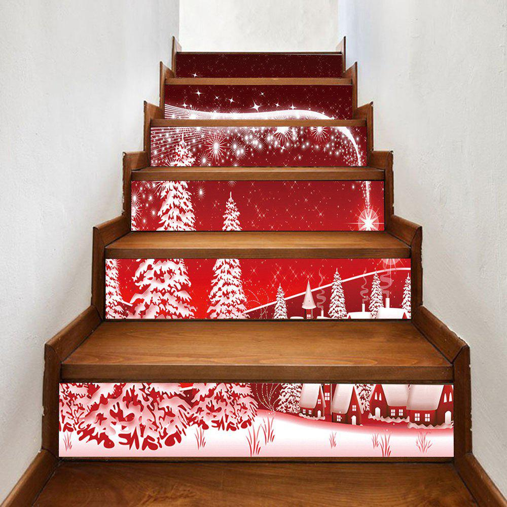 Christmas Forest Village Pattern Decorative Stair StickersHOME<br><br>Size: 100*18CM*6PCS; Color: RED; Wall Sticker Type: Plane Wall Stickers; Functions: Stair Stickers; Theme: Christmas; Pattern Type: Forest; Material: PVC; Feature: Removable; Weight: 0.3600kg; Package Contents: 1 x Stair Stickers;