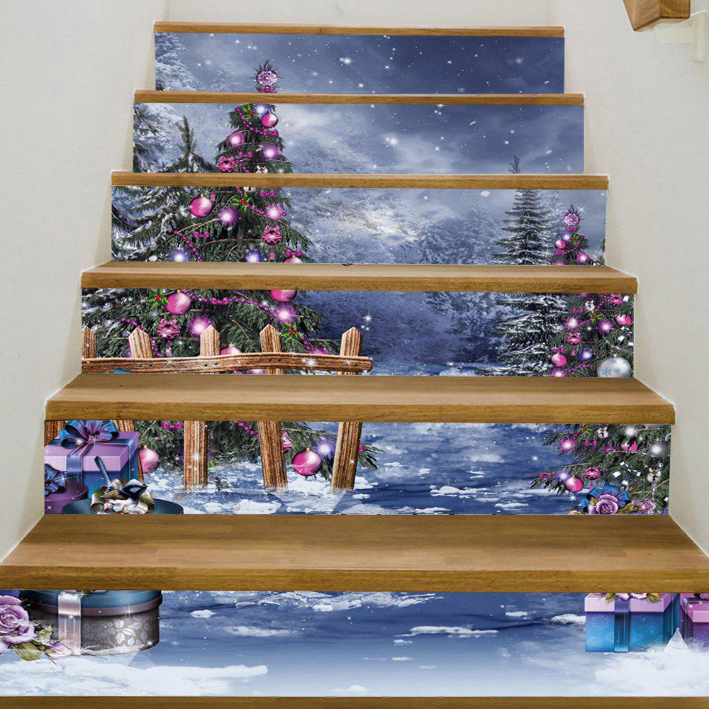 Christmas Forest Gift Pattern Decorative Stair StickersHOME<br><br>Size: 100*18CM*6PCS; Color: COLORMIX; Wall Sticker Type: Plane Wall Stickers; Functions: Stair Stickers; Theme: Christmas; Pattern Type: Christmas Tree; Material: PVC; Feature: Removable; Weight: 0.3600kg; Package Contents: 1 x Stair Stickers;