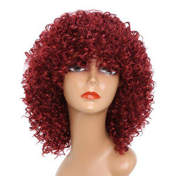 Shops Medium Neat Bang Shaggy Afro Kinky Curly Synthetic Wig