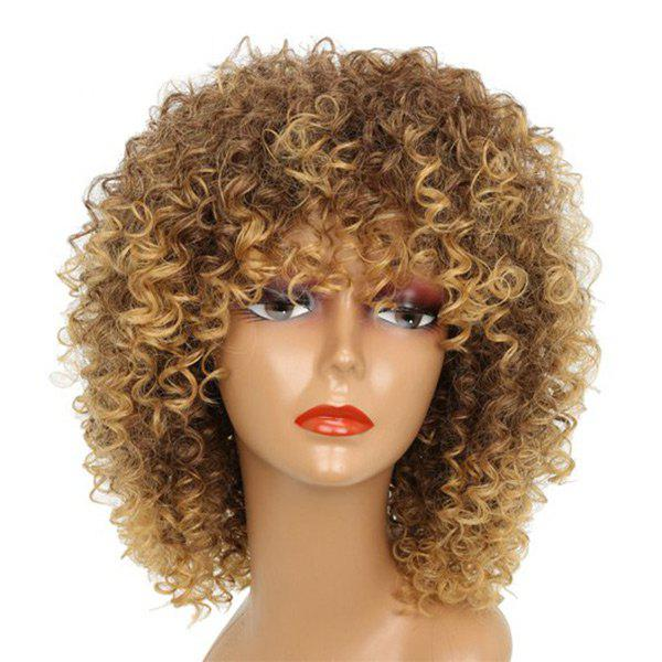 Medium Neat Bang Shaggy Afro Kinky Curly Synthetic WigHAIR<br><br>Color: BROWN; Type: Full Wigs; Cap Construction: Capless (Machine-Made); Style: Kinky Curly; Material: Synthetic Hair; Bang Type: Side; Length: Medium; Length Size(CM): 38; Weight: 0.1600kg; Package Contents: 1 x Wig;