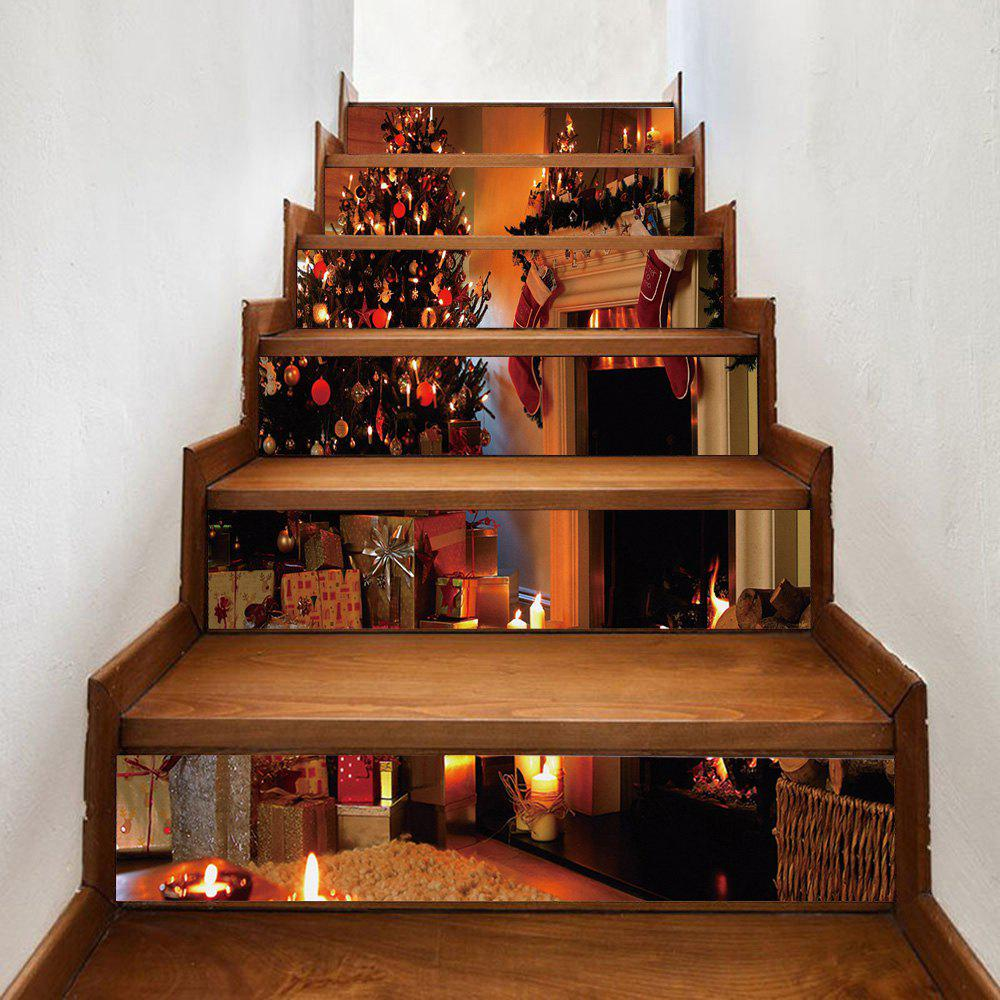 Christmas Tree Fireplace Pattern Decorative Stair StickersHOME<br><br>Size: 100*18CM*6PCS; Color: BROWN; Wall Sticker Type: Plane Wall Stickers; Functions: Stair Stickers; Theme: Christmas; Pattern Type: Christmas Tree; Material: PVC; Feature: Removable; Weight: 0.3600kg; Package Contents: 1 x Stair Stickers;