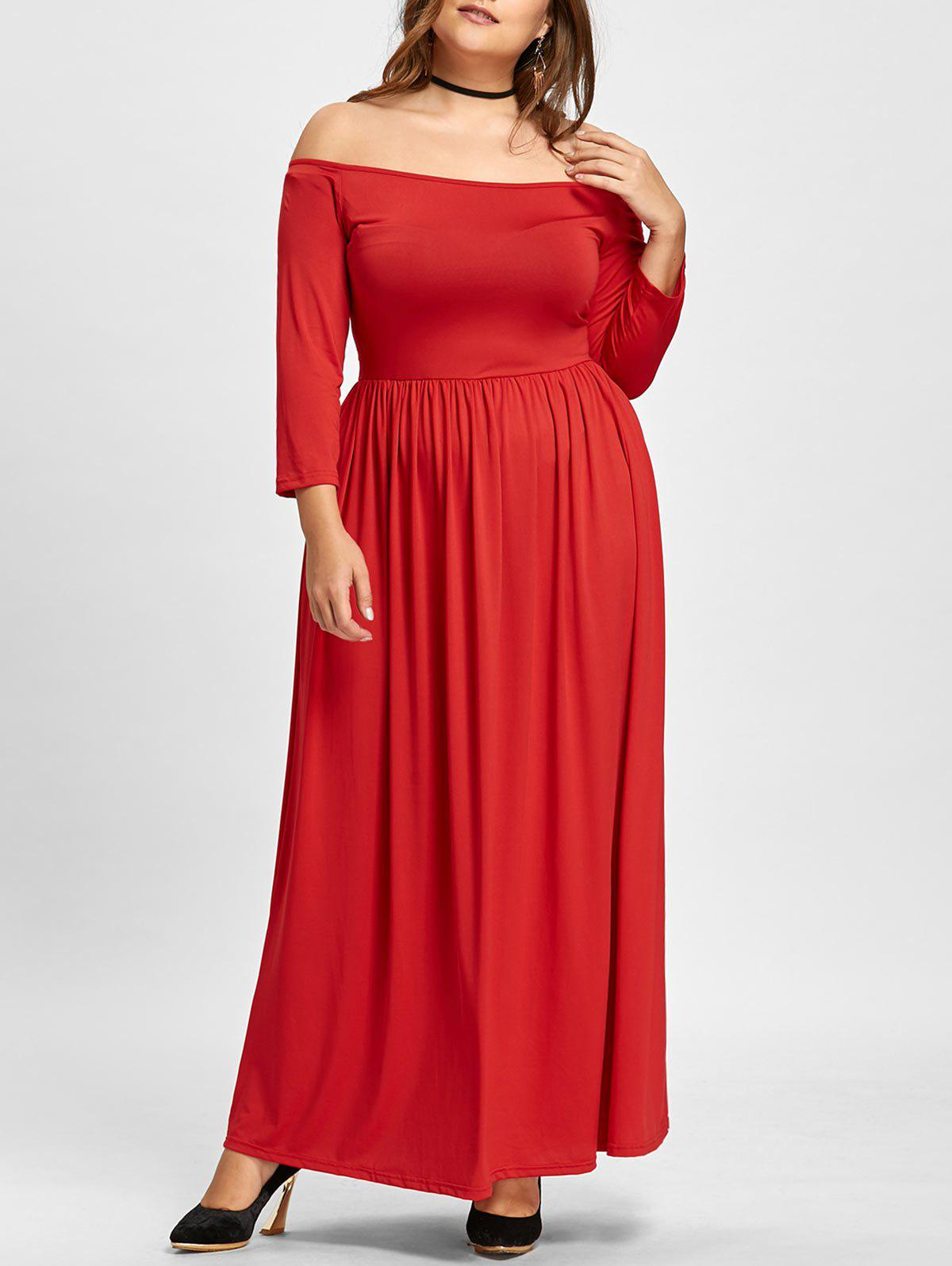 Empire Waist Plus Size Off The Shoulder Maxi Formal DressWOMEN<br><br>Size: 6XL; Color: RED; Style: Brief; Material: Cotton Blend,Polyester; Silhouette: Ball Gown; Dresses Length: Floor-Length; Neckline: Off The Shoulder; Sleeve Length: 3/4 Length Sleeves; Waist: Empire; Pattern Type: Solid Color; With Belt: No; Season: Fall,Winter; Weight: 0.5500kg; Package Contents: 1 x Dress;