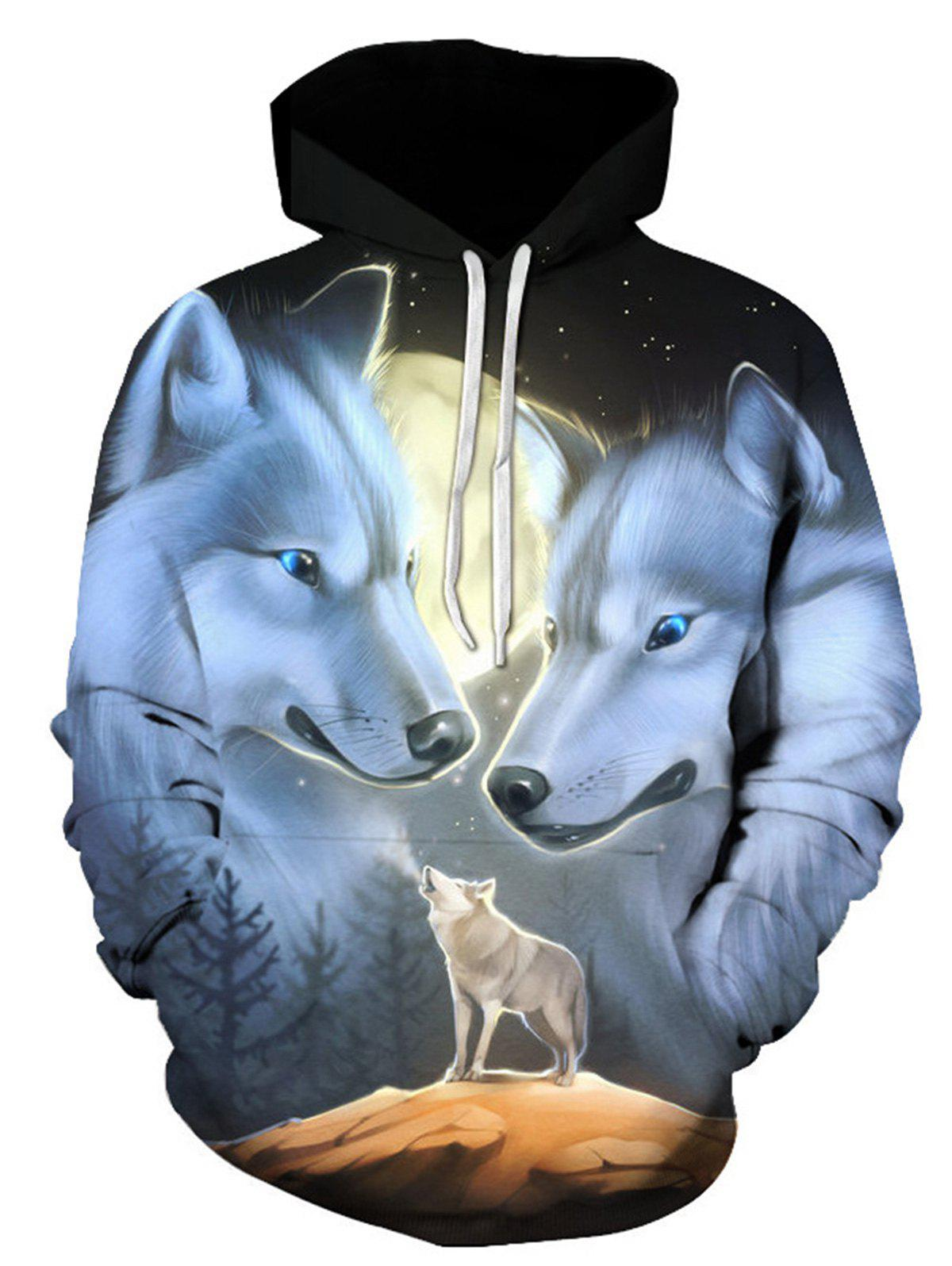 Hooded Wolves 3D Print Pullover HoodieMEN<br><br>Size: 3XL; Color: COLORMIX; Material: Cotton,Polyester; Clothes Type: Hoodie; Shirt Length: Regular; Sleeve Length: Full; Style: Fashion; Patterns: 3D,Animal; Thickness: Regular; Occasion: Casual ,Daily Use,Going Out; Weight: 0.4800kg; Package Contents: 1 x Hoodie;