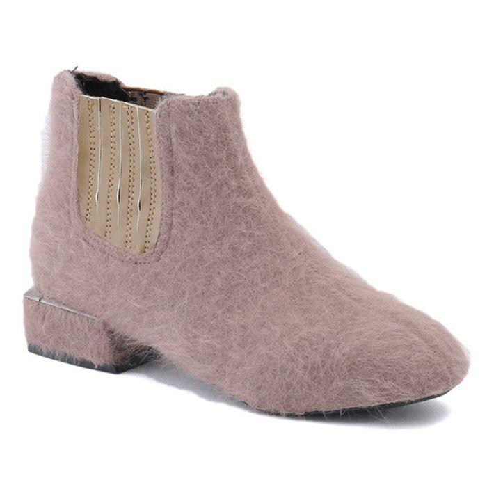 Discount Faux Fur Elasticized Side Panel Ankle Boots