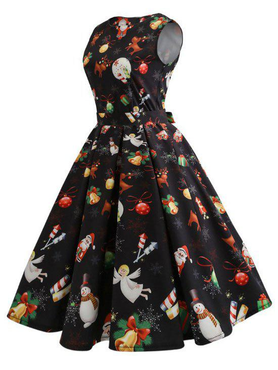 Christmas Elk Snowman Santa Claus Vintage DressWOMEN<br><br>Size: M; Color: BLACK; Style: Vintage; Material: Polyester,Spandex; Silhouette: A-Line; Dresses Length: Knee-Length; Neckline: Round Collar; Sleeve Length: Sleeveless; Pattern Type: Others; With Belt: No; Season: Fall,Spring; Weight: 0.3200kg; Package Contents: 1 x Dress;