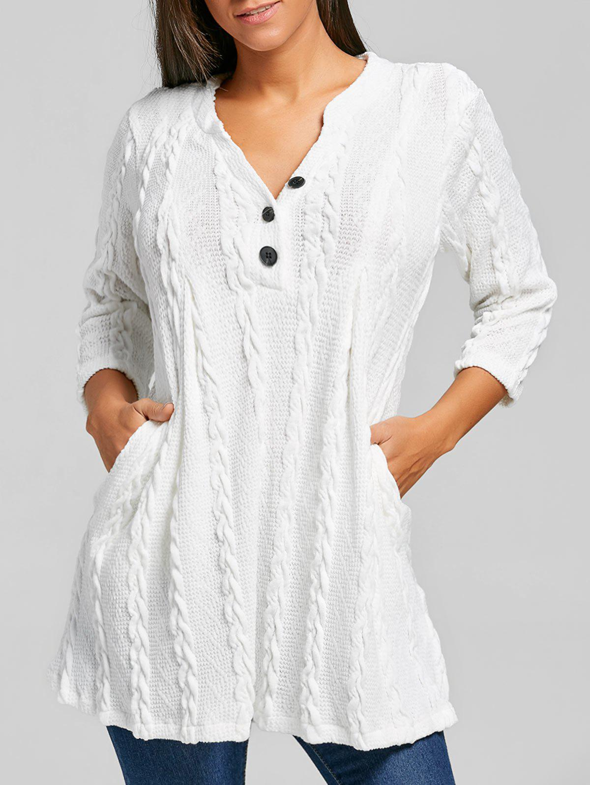 Cable Knitted V Neck Tunic SweaterWOMEN<br><br>Size: L; Color: WHITE; Type: Pullovers; Material: Polyester,Spandex; Sleeve Length: Three Quarter; Collar: V-Neck; Style: Fashion; Pattern Type: Solid; Season: Fall,Spring; Weight: 0.6300kg; Package Contents: 1 x Sweater;