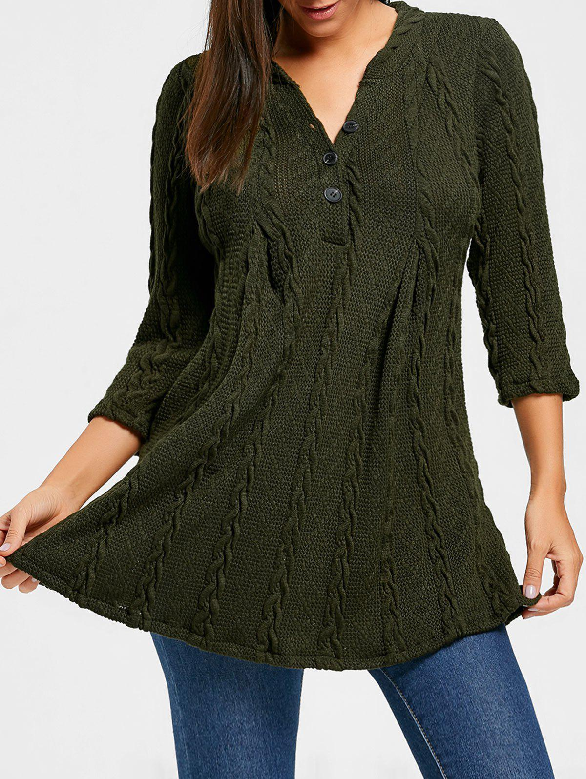 Cable Knitted V Neck Tunic SweaterWOMEN<br><br>Size: 2XL; Color: ARMY GREEN; Type: Pullovers; Material: Polyester,Spandex; Sleeve Length: Three Quarter; Collar: V-Neck; Style: Fashion; Pattern Type: Solid; Season: Fall,Spring; Weight: 0.6300kg; Package Contents: 1 x Sweater;
