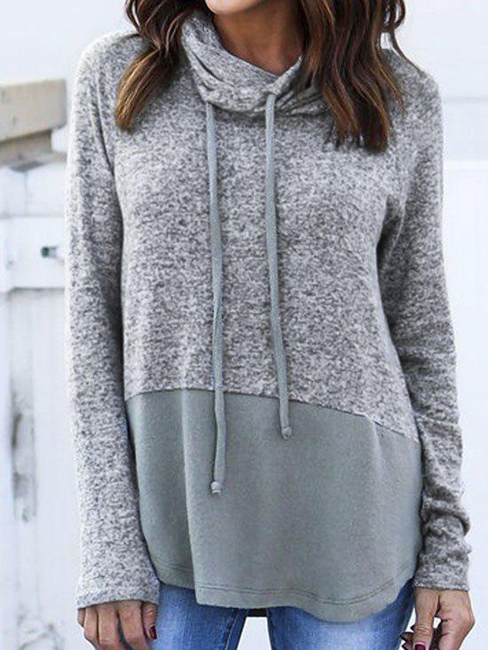 Long Patchwork Cowl Neck SweatshirtWOMEN<br><br>Size: XL; Color: GRAY; Material: Polyester,Spandex; Shirt Length: Long; Sleeve Length: Full; Style: Fashion; Pattern Style: Others; Season: Fall,Spring; Weight: 0.3050kg; Package Contents: 1 x Sweatshirt;
