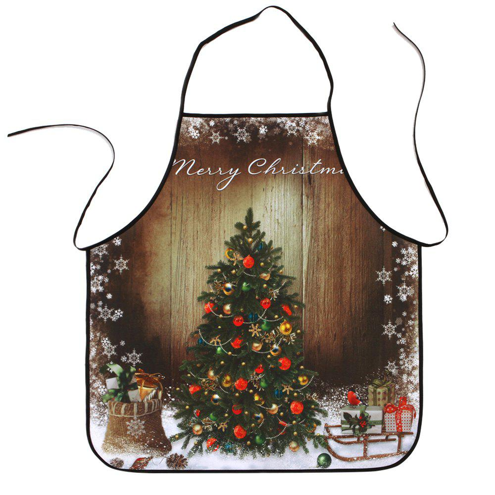 Wood Grain Christmas Tree Print Waterproof Polyester ApronHOME<br><br>Size: 80*70CM; Color: COLORMIX; Type: Apron; Material: Polyester; Weight: 0.0800kg; Package Contents: 1 x Apron;