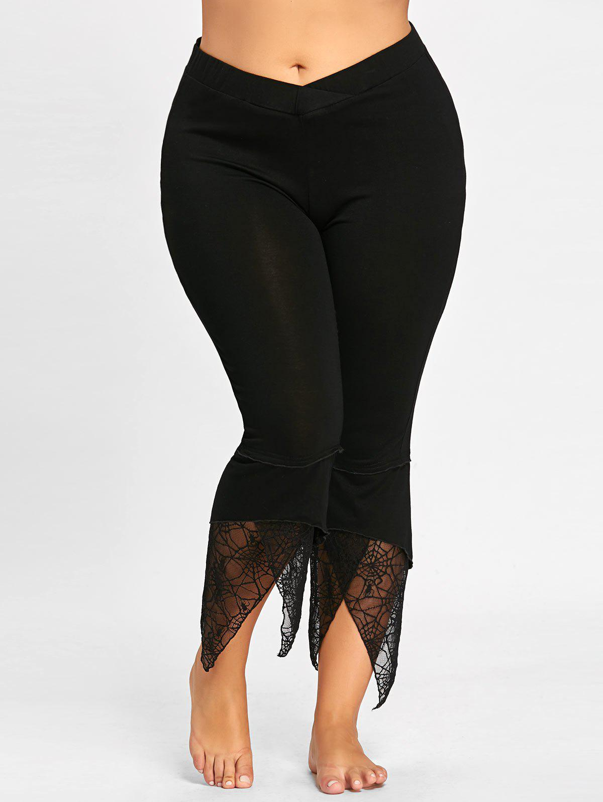 Outfits Plus Size Lace Panel Tulip Hem Leggings