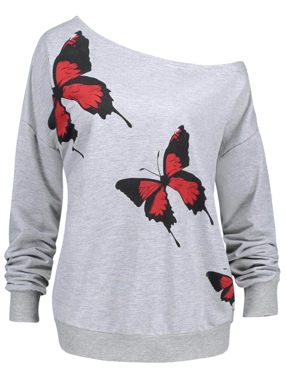 Plus Size Butterfly Printed Skew Neck SweatshirtWOMEN<br><br>Size: 2XL; Color: GRAY; Material: Cotton Blend,Polyester; Shirt Length: Regular; Sleeve Length: Full; Style: Fashion; Pattern Style: Insect; Season: Fall,Winter; Weight: 0.4000kg; Package Contents: 1 x Sweatshirt;