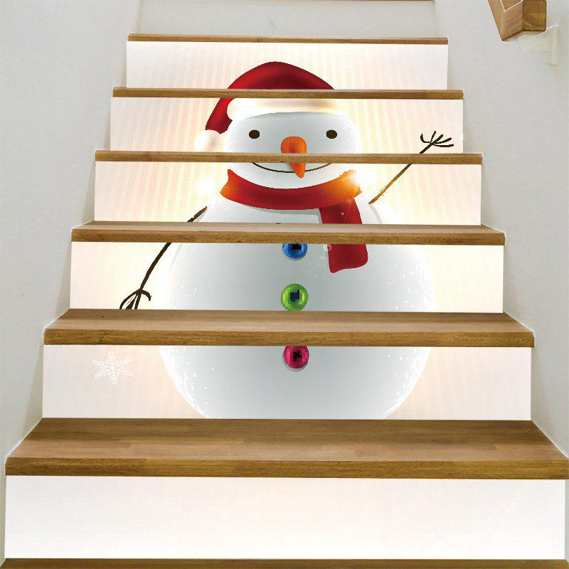 Chubby Christmas Snowman Decoration Stair StickersHOME<br><br>Size: 100*18CM*6PCS; Color: COLORFUL; Wall Sticker Type: Plane Wall Stickers; Functions: Decorative Wall Stickers; Pattern Type: Snowman; Material: PVC; Feature: Removable; Weight: 0.3100kg; Package Contents: 1 x Stair Stickers;