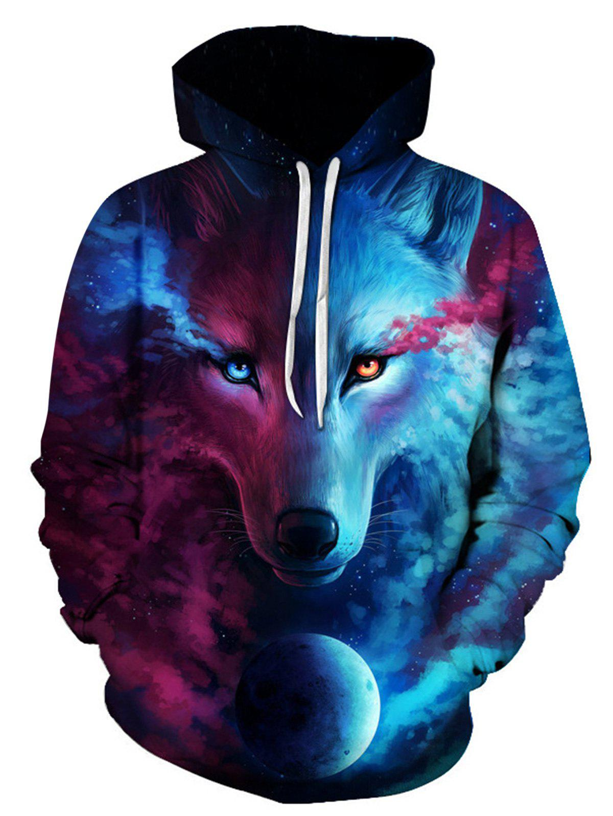 b5c22994be02 Affordable Hooded 3D Trippy Wolf Print Pullover Hoodie