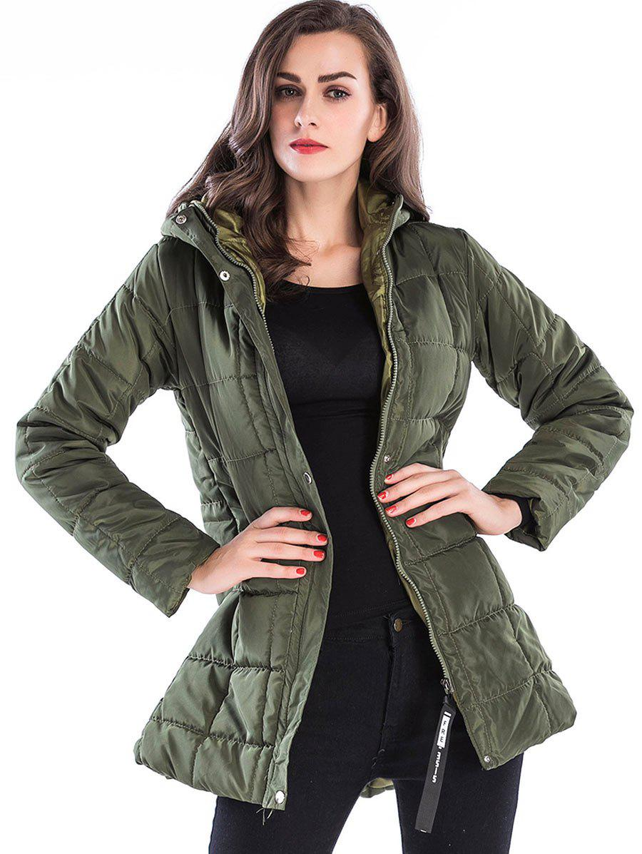 Outfits Long Zip Up Hooded Down Coat