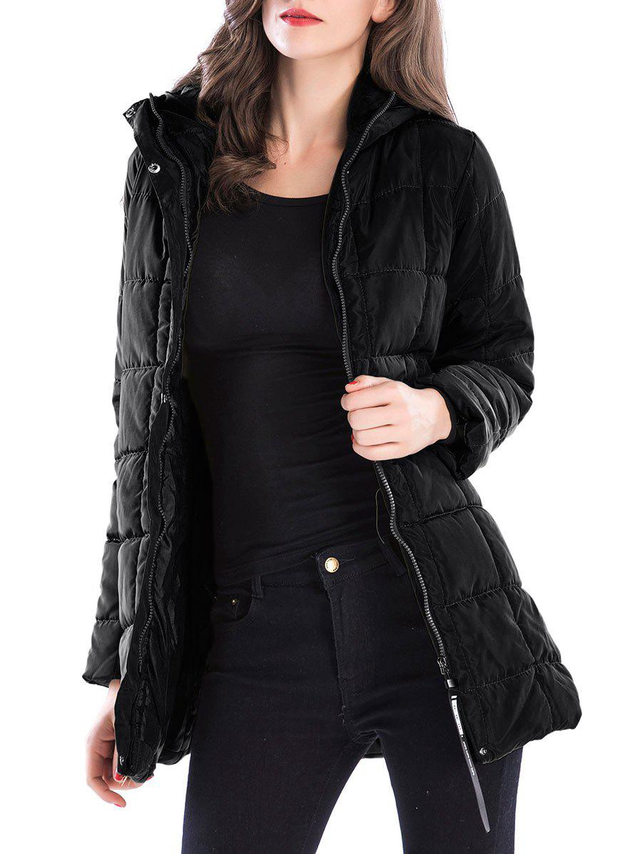 Long Zip Up Hooded Down CoatWOMEN<br><br>Size: 2XL; Color: BLACK; Clothes Type: Padded; Material: Polyester; Type: Slim; Shirt Length: Long; Sleeve Length: Full; Collar: Hooded; Pattern Type: Solid; Style: Fashion; Season: Winter; Weight: 0.6800kg; Package Contents: 1 x Coat;