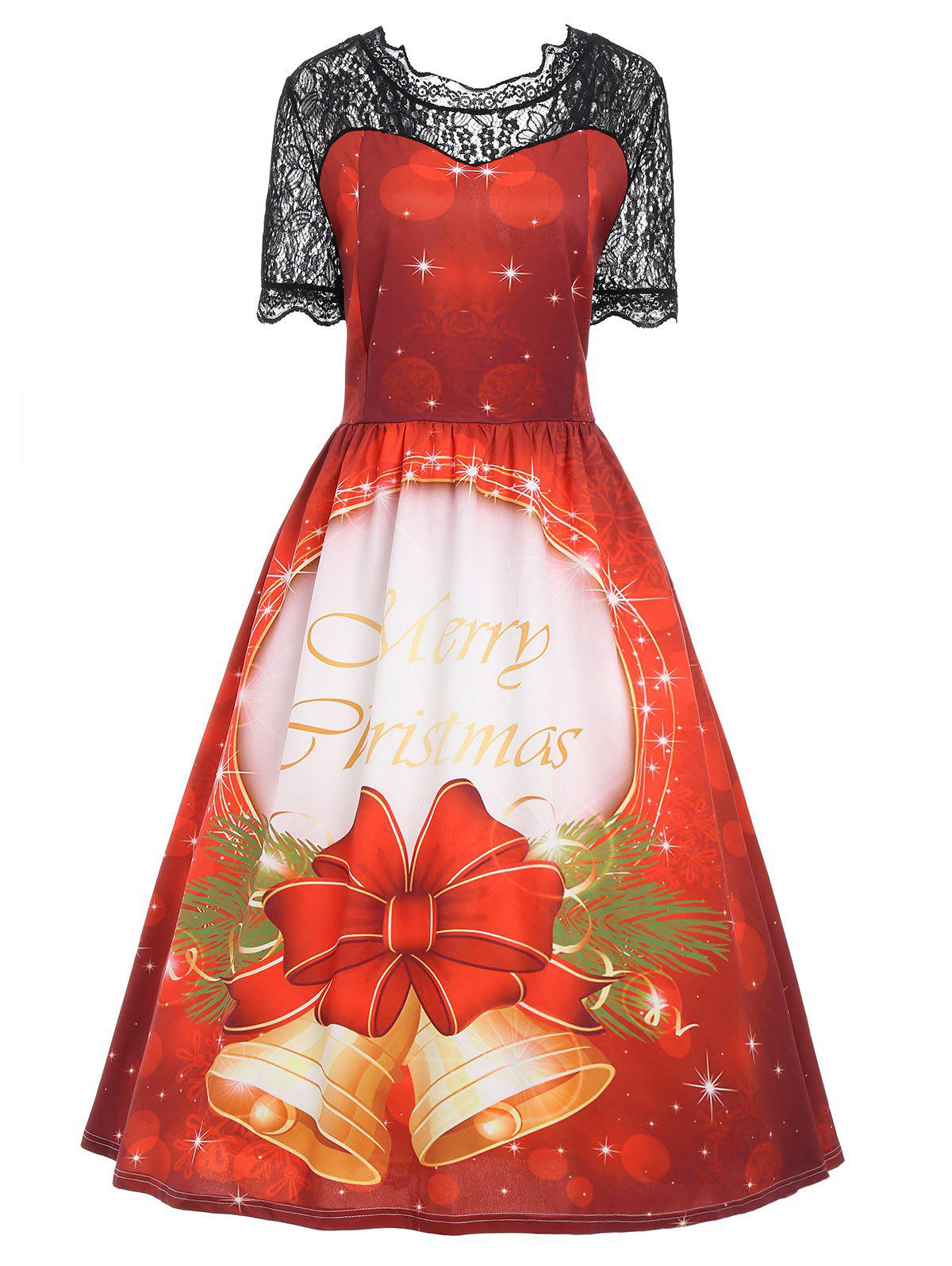 Christmas Bell Vintage Lace Panel Plus Size DressWOMEN<br><br>Size: 4XL; Color: RED; Style: Vintage; Material: Polyester; Silhouette: A-Line; Dresses Length: Mid-Calf; Neckline: Round Collar; Sleeve Length: Short Sleeves; Pattern Type: Bowknot,Letter; With Belt: No; Season: Fall,Winter; Weight: 0.3350kg; Package Contents: 1 x Dress;
