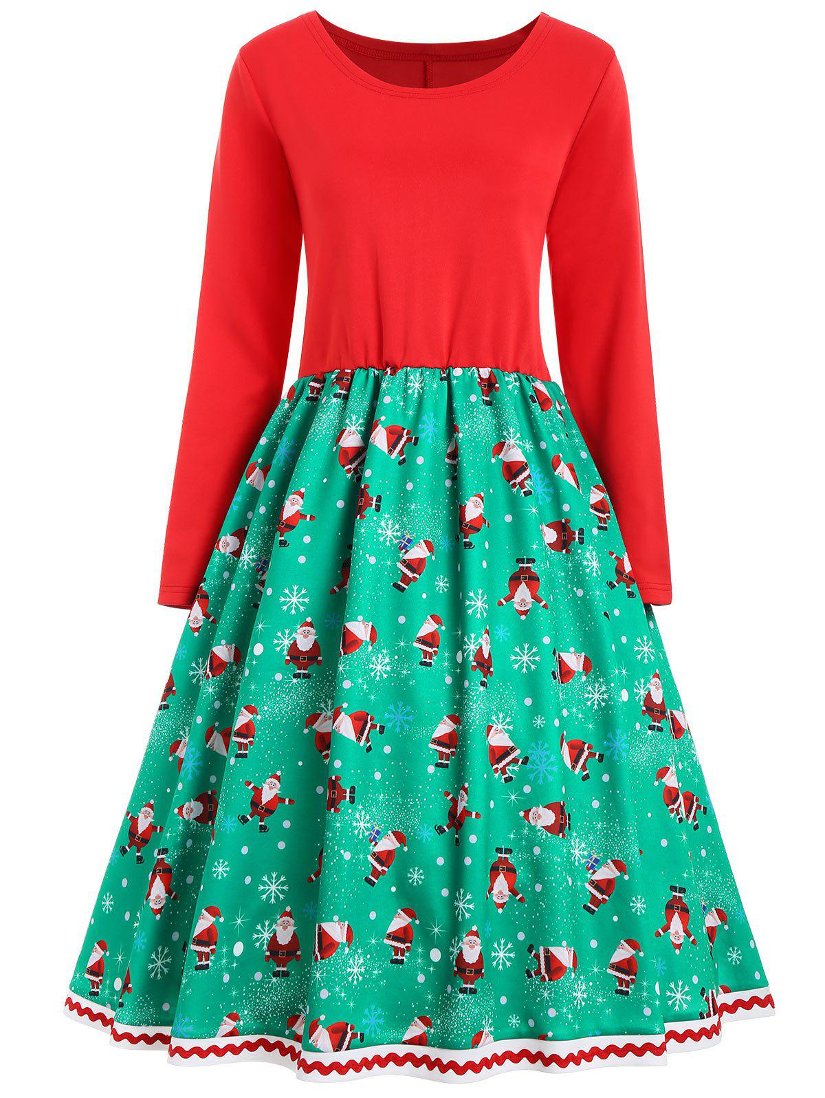 Christmas Snowflake Santa Claus Vintage Plus Size DressWOMEN<br><br>Size: 4XL; Color: RED AND GREEN; Style: Vintage; Material: Polyester; Silhouette: A-Line; Dresses Length: Mid-Calf; Neckline: Round Collar; Sleeve Length: Long Sleeves; Pattern Type: Print; With Belt: No; Season: Fall,Winter; Weight: 0.5700kg; Package Contents: 1 x Dress;