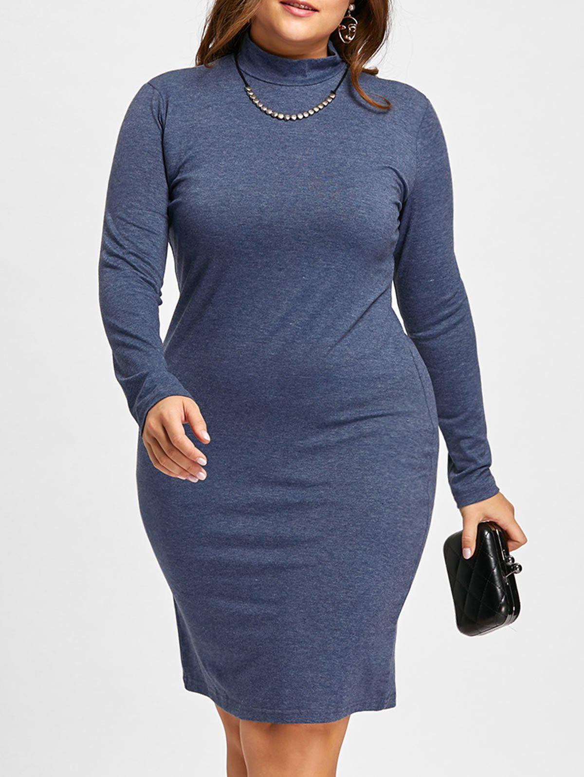 Plus Size Midi High Neck  Sheath Dress with SleevesWOMEN<br><br>Size: 6XL; Color: DEEP BLUE; Style: Work; Material: Cotton Blend,Polyester; Silhouette: Sheath; Dresses Length: Mid-Calf; Neckline: High Neck; Sleeve Length: Long Sleeves; Pattern Type: Solid,Solid Color; With Belt: No; Season: Fall,Winter; Weight: 0.3600kg; Package Contents: 1 x Dress;