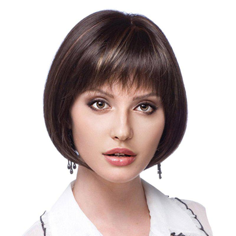 Short Neat Bang Colormix Straight Bob Synthetic WigHAIR<br><br>Color: BLACK BROWN; Type: Full Wigs; Cap Construction: Capless; Style: Bob; Material: Synthetic Hair; Bang Type: Full; Length: Short; Length Size(CM): 30; Weight: 0.1600kg; Package Contents: 1 x Wig;