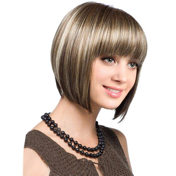 Short Full Bang Colormix Straight Bob Synthetic WigHAIR<br><br>Color: COFFEE AND GOLDEN; Type: Full Wigs; Cap Construction: Capless; Style: Bob; Material: Synthetic Hair; Bang Type: Full; Length: Short; Length Size(CM): 32; Weight: 0.1800kg; Package Contents: 1 x Wig;