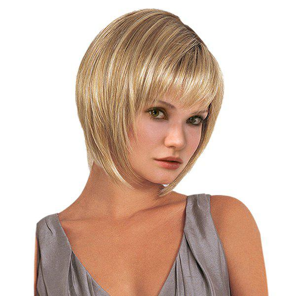 Short Side Fringe Straight Synthetic WigHAIR<br><br>Color: GOLDEN; Type: Full Wigs; Cap Construction: Capless (Machine-Made); Style: Straight; Material: Synthetic Hair; Bang Type: Side; Length: Short; Length Size(CM): 32; Weight: 0.1600kg; Package Contents: 1 x Wig;