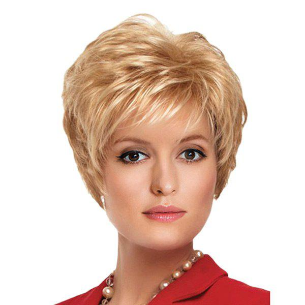 Short Side Bang Fluffy Slightly Curly Synthetic WigHAIR<br><br>Color: CITRUS; Type: Full Wigs; Cap Construction: Capless (Machine-Made); Style: Straight; Material: Synthetic Hair; Bang Type: Side; Length: Short; Length Size(CM): 30; Weight: 0.1700kg; Package Contents: 1 x Wig;