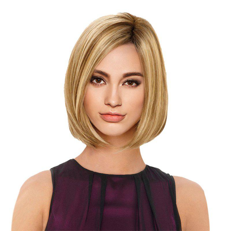 Short Colormix Side Parting Straight Bob Synthetic WigHAIR<br><br>Color: GOLDEN; Type: Full Wigs; Cap Construction: Capless (Machine-Made); Style: Bob; Material: Synthetic Hair; Bang Type: Side; Length: Short; Length Size(CM): 32; Weight: 0.1600kg; Package Contents: 1 x Wig;