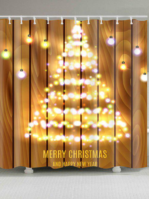 Neon Christmas Tree Print Polyester Waterproof Bath CurtainHOME<br><br>Size: W59 INCH * L71 INCH; Color: WOOD COLOR; Products Type: Shower Curtains; Materials: Polyester; Pattern: Christmas Tree,Wood Grain; Style: Festival; Number of Hook Holes: W59 inch*L71 inch: 10; W71 inch*L71 inch: 12; W71 inch*L79 inch: 12; Package Contents: 1 x Shower Curtain 1 x Hooks (Set);