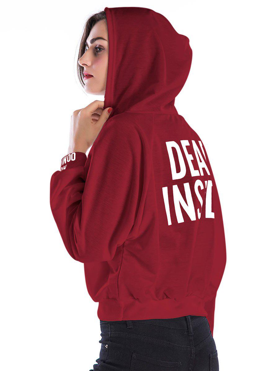 Trendy Color Block Letter Short Hoodie