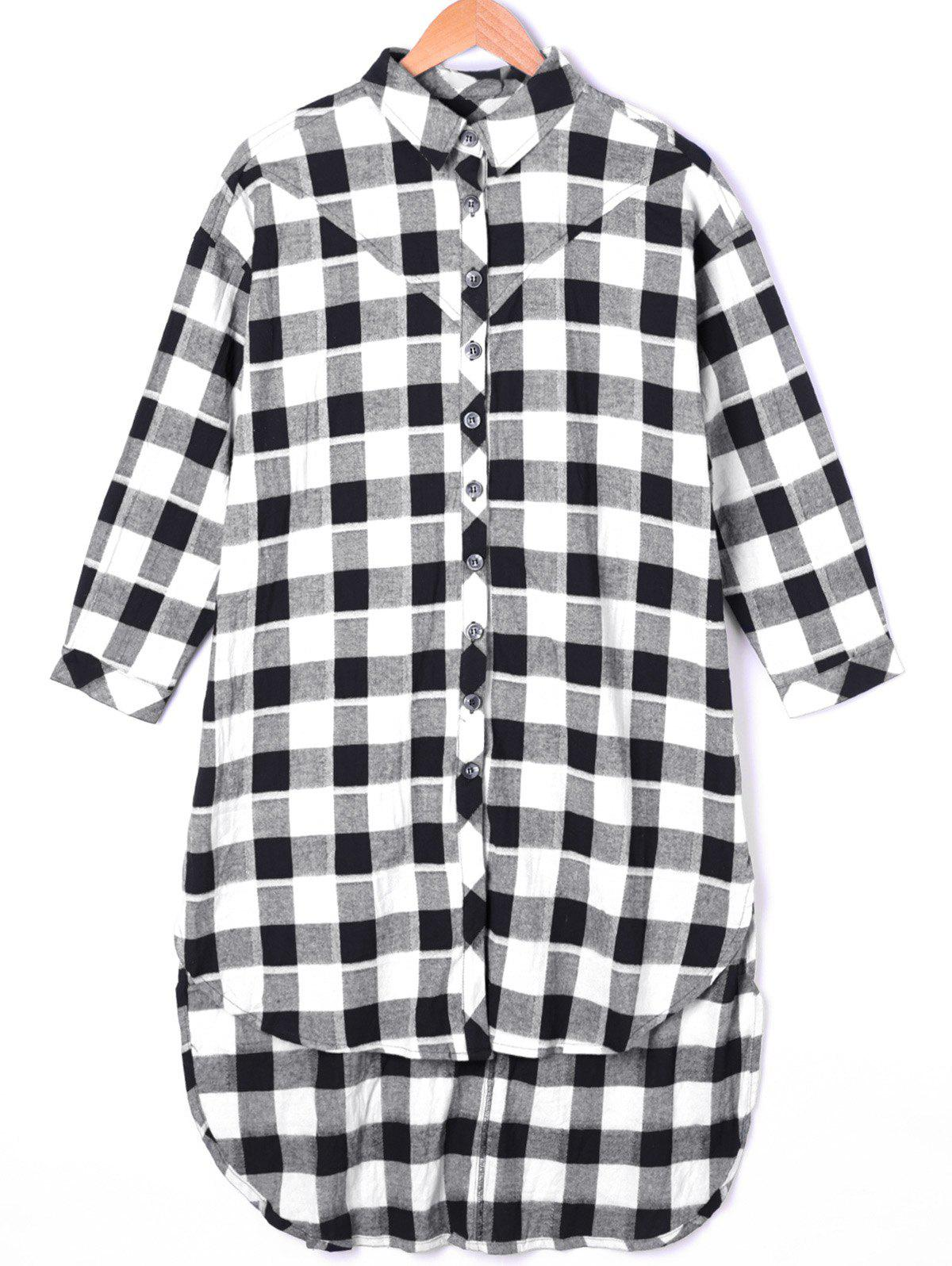 Plaid Dip Hem Long ShirtWOMEN<br><br>Size: ONE SIZE; Color: BLACK WHITE; Occasion: Casual; Style: Casual; Material: Polyester; Shirt Length: X-Long; Sleeve Length: Three Quarter; Collar: Shirt Collar; Pattern Type: Plaid; Season: Fall,Spring; Weight: 0.2500kg; Package Contents: 1 x Shirt;