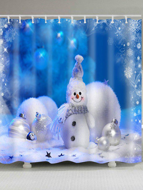 Christmas Snowman Snowball Print Waterproof Polyester Bath CurtainHOME<br><br>Size: W59 INCH * L71 INCH; Color: BLUE; Products Type: Shower Curtains; Materials: Polyester; Pattern: Ball,Snowman; Style: Festival; Number of Hook Holes: W59 inch*L71 inch: 10; W71 inch*L71 inch: 12; W71 inch*L79 inch: 12; Package Contents: 1 x Shower Curtain 1 x Hooks (Set);