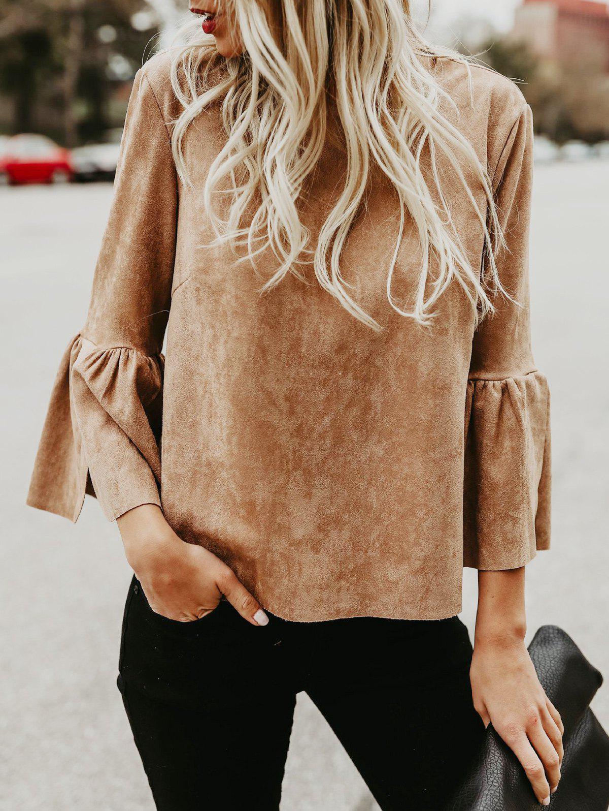 Trendy Flare Sleeve Back Cut Out Shirt