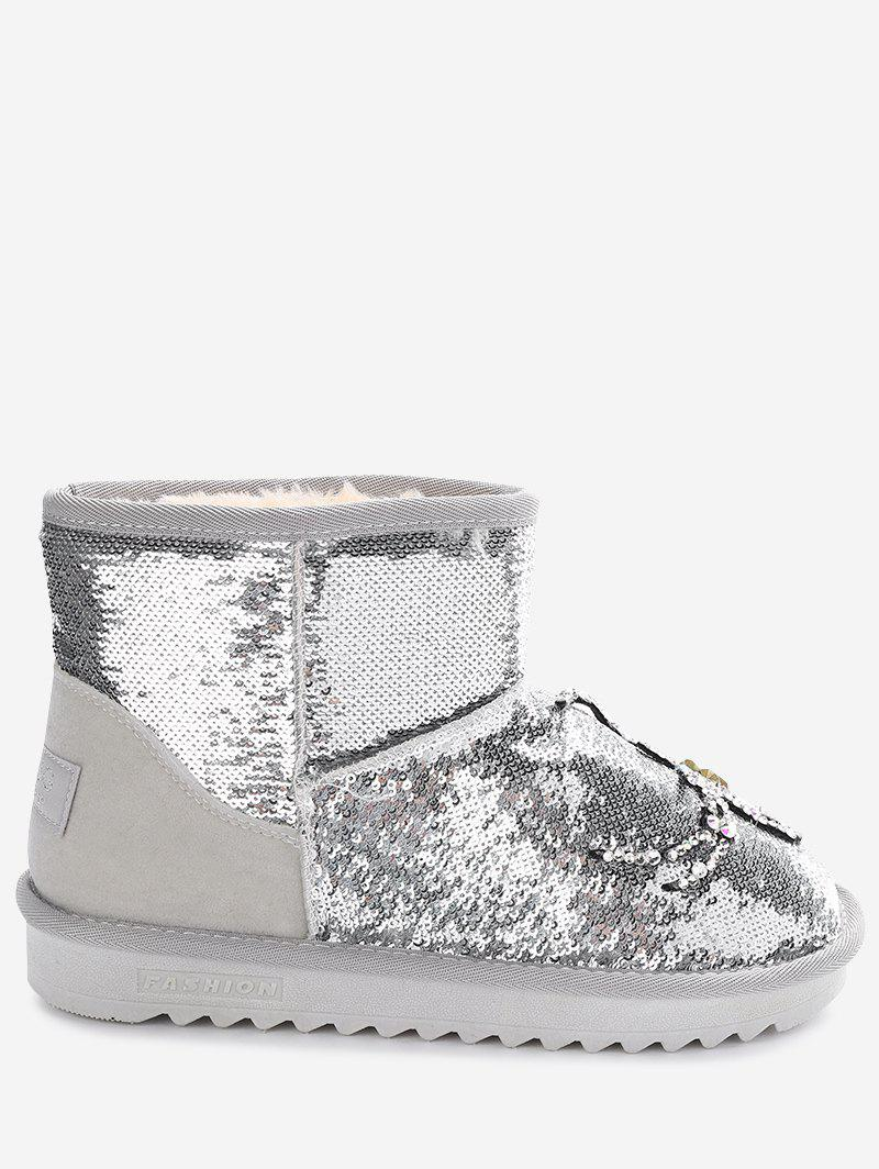 Buy Sequined Rhinestone Spider Snow Boots