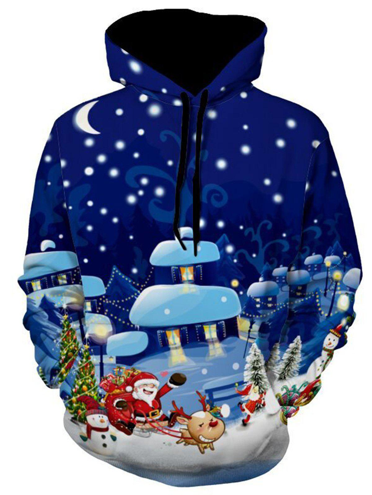 Snowflake Santa Clause Reindeer Christmas HoodieMEN<br><br>Size: 2XL; Color: COLORMIX; Material: Polyester; Clothes Type: Hoodie; Shirt Length: Regular; Sleeve Length: Full; Style: Novelty; Patterns: 3D,Print; Thickness: Regular; Occasion: Casual ,Club,Daily Use,Going Out,Sports; Weight: 0.5500kg; Package Contents: 1 x Hoodie;