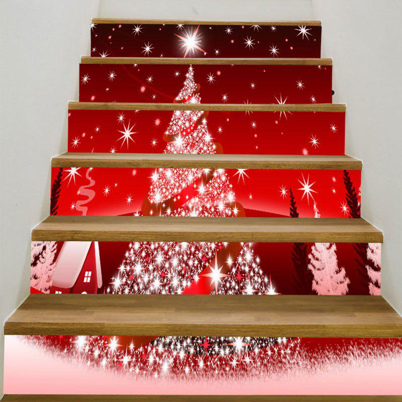 Christmas Starlight Tree Printed Decorative Stair StickersHOME<br><br>Size: 100*18CM*6PCS; Color: RED; Wall Sticker Type: Plane Wall Stickers; Functions: Stair Stickers; Theme: Christmas; Pattern Type: Christmas Tree; Material: PVC; Feature: Removable; Weight: 0.3100kg; Package Contents: 1 x Stair Stickers (Set);