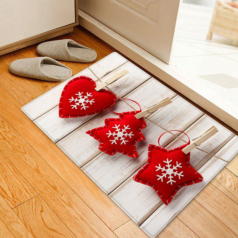 Christmas Ornament Pattern Anti-skid Water Absorption Area RugHOME<br><br>Size: W20 INCH * L31.5 INCH; Color: RED; Products Type: Bath rugs; Materials: Flannel; Pattern: Christmas Tree,Heart; Style: Festival; Shape: Rectangle; Package Contents: 1 x Rug;
