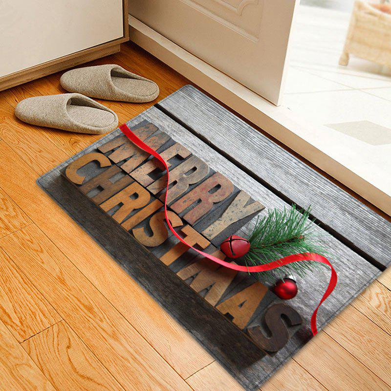 Wood Merry Christmas Pattern Anti-skid Water Absorption Area RugHOME<br><br>Size: W20 INCH * L31.5 INCH; Color: COLORMIX; Products Type: Bath rugs; Materials: Flannel; Pattern: Letter,Wood Grain; Style: Festival; Shape: Rectangle; Package Contents: 1 x Rug;