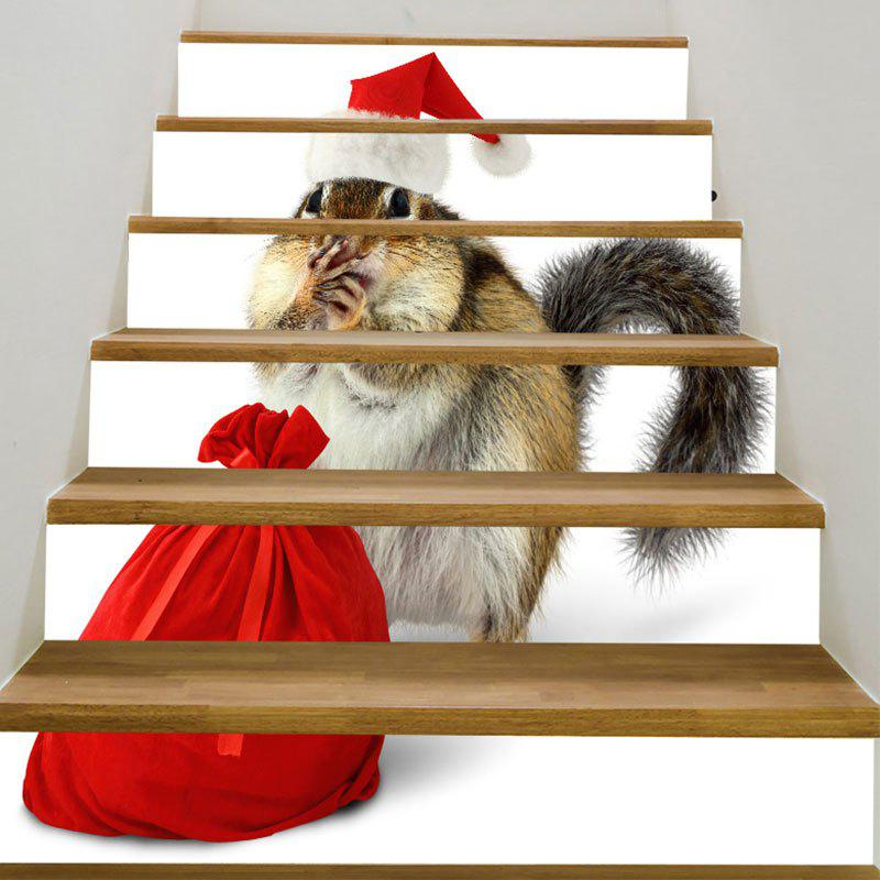 Christmas Squirrel Printed DIY Stair StickersHOME<br><br>Size: 100*18CM*6PCS; Color: COLORMIX; Wall Sticker Type: Plane Wall Stickers; Functions: Stair Stickers; Theme: Christmas; Pattern Type: Animal; Material: PVC; Feature: Removable; Weight: 0.3100kg; Package Contents: 1 x Stair Stickers (Set);