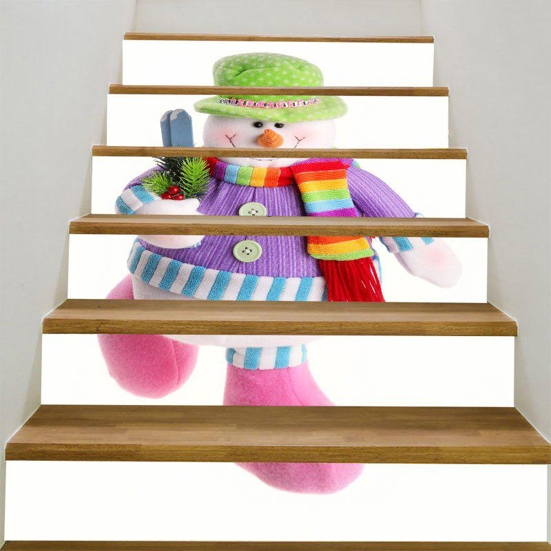 Removable Colorful Snowman Pattern DIY Stair StickersHOME<br><br>Size: 100*18CM*6PCS; Color: COLORFUL; Wall Sticker Type: Plane Wall Stickers; Functions: Stair Stickers; Theme: Christmas; Pattern Type: Snowman; Material: PVC; Feature: Removable; Weight: 0.3100kg; Package Contents: 1 x Stair Stickers (Set);