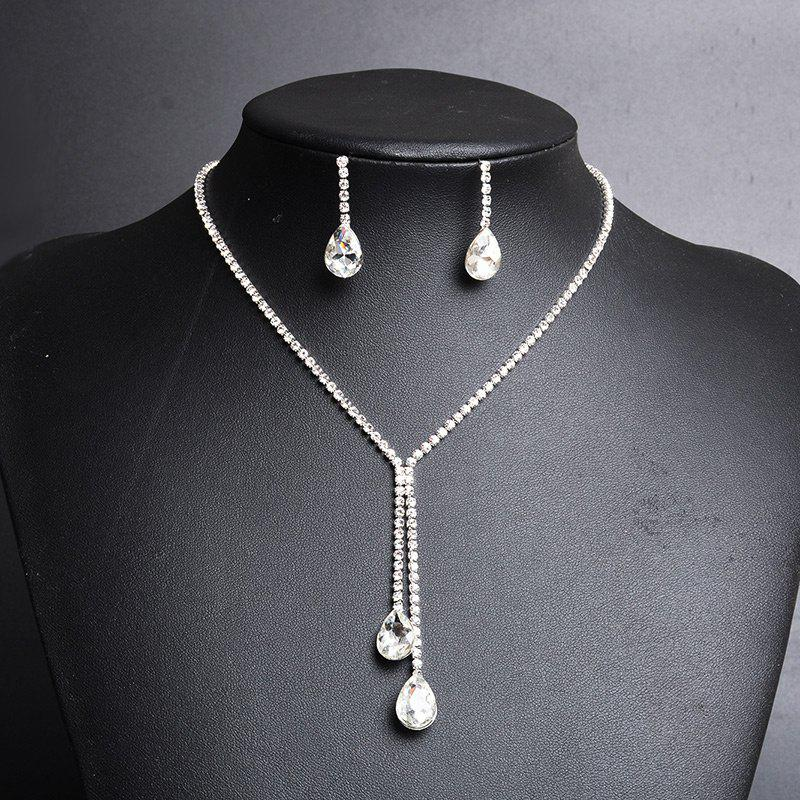 Rhinestoned Faux Crystal Teardrop Jewelry SetJEWELRY<br><br>Color: SILVER; Item Type: Pendant Necklace; Gender: For Women; Necklace Type: Link Chain; Material: Rhinestone; Style: Noble and Elegant; Shape/Pattern: Water Drop; Length: 50CM (Necklace Length); Weight: 0.0450kg; Package Contents: 1 x Necklace 1 x Earring (Pair);