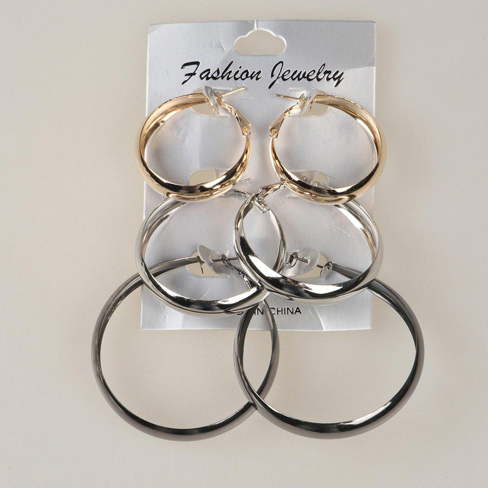 Alloy Chunky Circle Hoop Earring SetJEWELRY<br><br>Color: COLORMIX; Earring Type: Hoop Earrings; Gender: For Women; Metal Type: Alloy; Style: Trendy; Shape/Pattern: Round; Weight: 0.0250kg; Package Contents: 3 x Earrings (Pair);