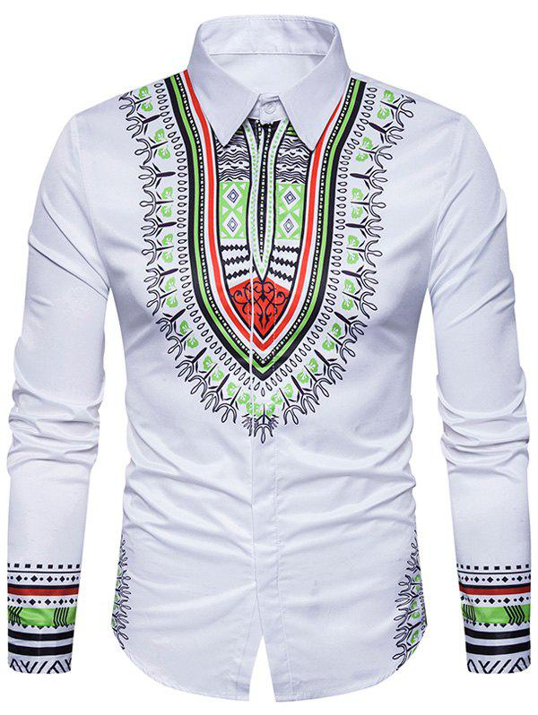 National Geometric Print Long Sleeve ShirtMEN<br><br>Size: M; Color: WHITE; Shirts Type: Casual Shirts; Material: Cotton,Polyester; Sleeve Length: Full; Collar: Turndown Collar; Pattern Type: Geometric,Tribal Print; Weight: 0.2800kg; Package Contents: 1 x Shirt;
