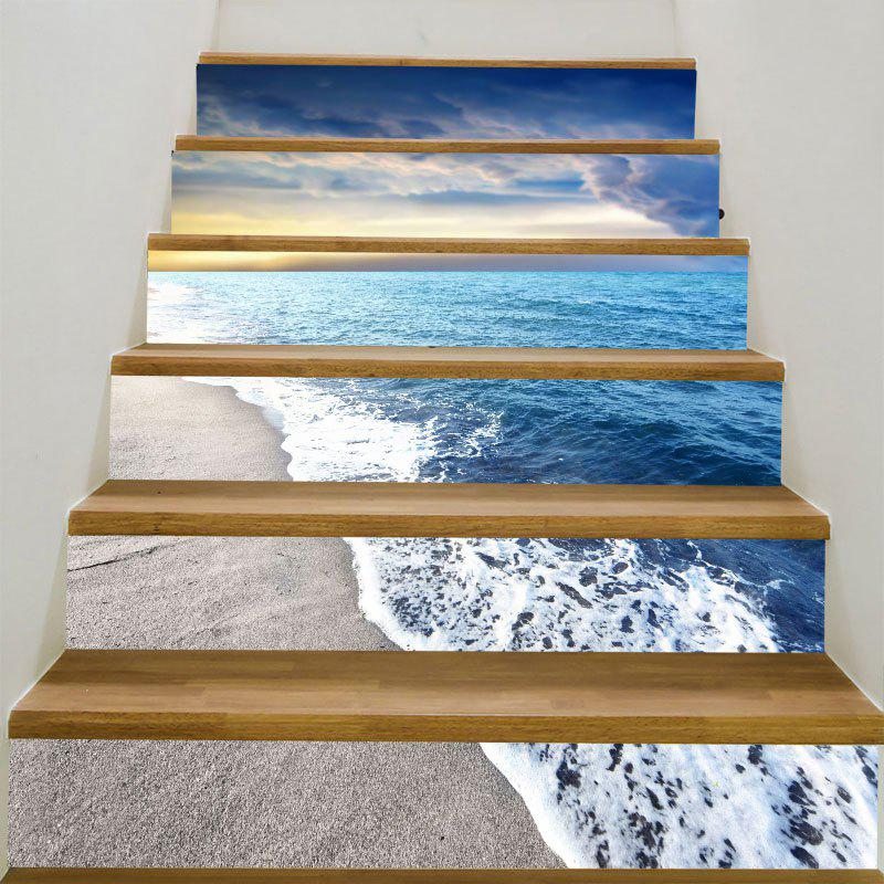 Sunny Beach View Pattern Decoration Stair StickersHOME<br><br>Size: 100*18CM*6PCS; Color: COLORFUL; Wall Sticker Type: Plane Wall Stickers; Functions: Decorative Wall Stickers; Theme: Beach Theme; Pattern Type: Ocean; Material: PVC; Feature: Removable; Weight: 0.3100kg; Package Contents: 1 x Stair Stickers (Set);