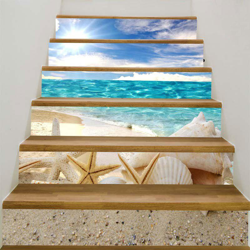 Sunny Beach with Shell and Starfish Decoration Stair StickersHOME<br><br>Size: 100*18CM*6PCS; Color: COLORFUL; Wall Sticker Type: Plane Wall Stickers; Functions: Decorative Wall Stickers; Theme: Beach Theme; Pattern Type: Shell,Starfish; Material: PVC; Feature: Removable; Weight: 0.3100kg; Package Contents: 1 x Stair Stickers (Set);