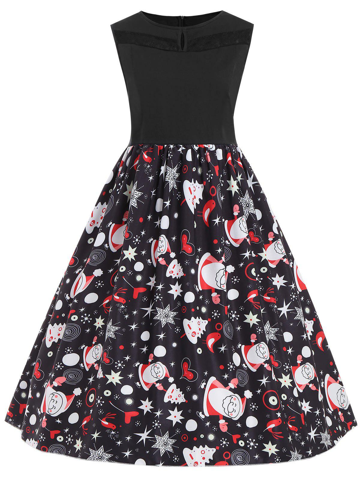 Christmas Santa Claus Plus Size Sleeveless DressWOMEN<br><br>Size: 5XL; Color: BLACK; Style: Vintage; Material: Polyester; Silhouette: A-Line; Dresses Length: Knee-Length; Neckline: Round Collar; Sleeve Length: Sleeveless; Embellishment: Lace; Pattern Type: Plant,Star; With Belt: No; Season: Fall,Winter; Weight: 0.2800kg; Package Contents: 1 x Dress;